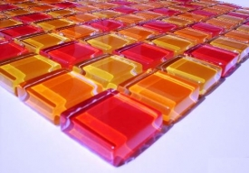 1m² Crystal Glasmosaik Orange-Rot-Mix 8mm